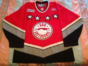 Sault Ste. Marie Greyhounds Red Reebok Hockey Jersey Adult M