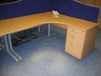 Maestro Radial Beech Office Desk & 3 Drawer Matching Pedestal