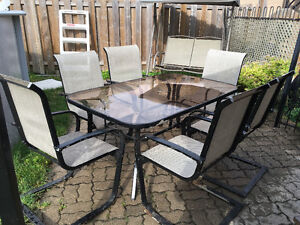 Glass Top Patio Set With 6 Chairs