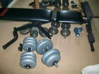 YORK FITNESS BENCH AND 2 SETS OF WEIGHTS