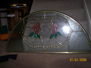 Large Heavy Half Circle Stained Glass Tiffany Decorative Window