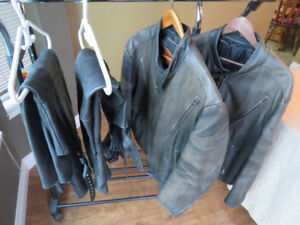 Kerr leather Jackets and two pair of chaps diff brand.