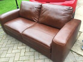 3 seater leather sofa chestnut brown new Redditch Area