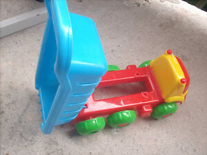 Small plastic toy dump truck
