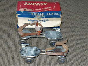 ORIGINAL VINTAGE DOMINION DOUBLE BALL BEARING ROLLER SKATES