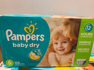 Pampers baby dry size 6, toy, and paintings