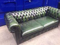 *STUNNING* vintage genuine antique leather chesterfield 3 seater sofa ORIGINAL!!!