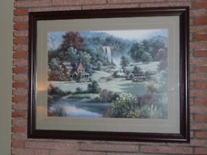 """Large 36x45 """"glass framed picture"""