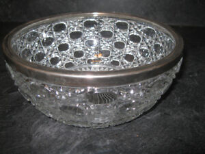 VINTAGE SIVER RIMMED PRESSED GLASS  BOWL made in ENGLAND