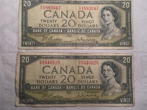 1954 Non-Devil Face Canadian $20 Bills. Belleville Belleville Area image 1
