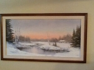 Winter scene oil painting on canvas.