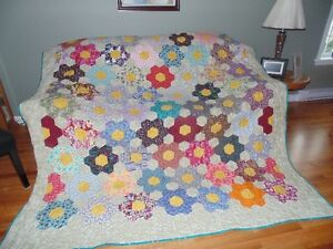 "For Sale A New ""Grandmother's Flower Garden""  Quilt"