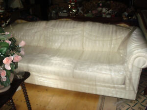 Cream-coloured Satin-Striped Three Seater Sofa