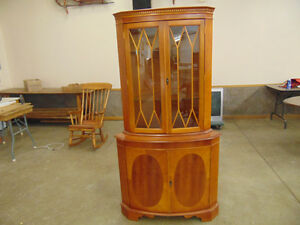 Corner China Cabinet  With Sectioned Glass Doors