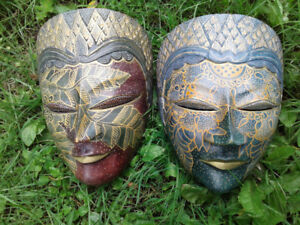 Vintage hand carved Indonesian mask very detailed .