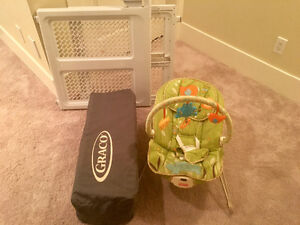 Pack and Play, nursing pillow, high chair and safety gate