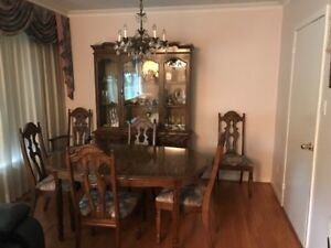 furniture Dining room table and Hutch