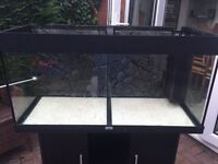 Juwel Rio 180 (Black) Aquarium, Lights and Cabinet for sale. With granite 3D background.