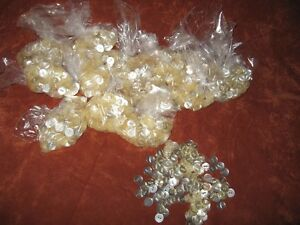 BAGS OF 150 NEW WHITE AND SHINE BUTTONS $1 EACH BAG