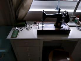 Vintage 1940s handcrank Singer sewing machine