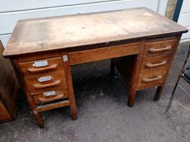 1930's Solid Oak School Teachers Desk
