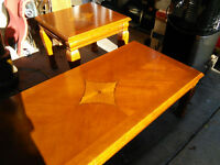 Wood coffee table and 2 end tables