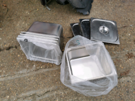 Bain Marie Container Stainless Steel Food Tray Pan 2/3