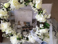 Wedding Decorations in white, including wreath