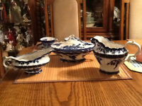 Repro Antique Vintage Flow Blue Touraine China Set