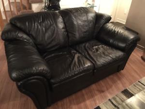 sofa 2 places en cuir véritable noir