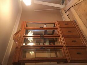 2 Section China Cabinet Solid Oak