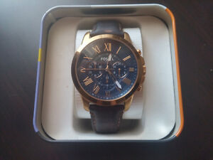 Leather Strapped Fossil Watch