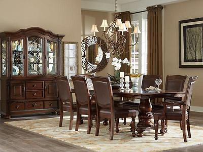 PORTOLA - 7pcs Traditional Cherry Brown Rectangular Dining Room Table Chairs Set ()