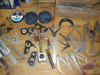 Huge LOT Machinists tools micrometer rulers gauges dividers etc