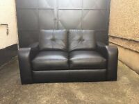2 seater black leather sofa immaculate•free delivery•£65