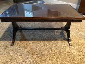 Antique wood coffee table.