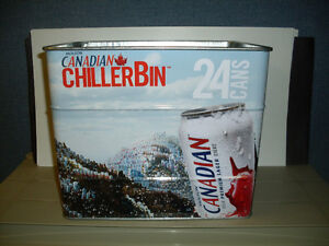 Molson Canadian Stainless Steel Chiller Bin Holds 24 Cans *NEW*