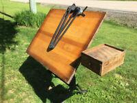 Vintage K & E Tilt Top, Iron Leg, 36x48 Drafting Table