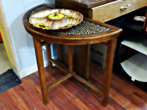Beautiful Entry Table - Woven Top - Stores Easily