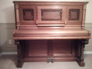 Vintage Heintzman Upright Piano with Stool and Bench