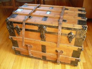 Antique Wooden Trunk with Original Leather Straps