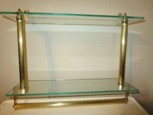 2 tier tempered glass vanity wall shelf & towel rack-gold colour