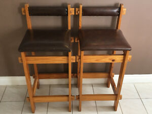 Sturdy, Pine & Faux Leather Bar Stools/Chairs - set of 2