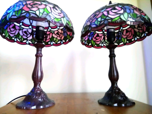 Tiffany Style Stained Glass Table Lamps (Rose Pattern) Rosemeadow Campbelltown Area Preview
