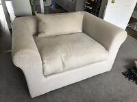 Habitat cuddler, oversized chair, love seat linen armchair Louis, Charles Teddington