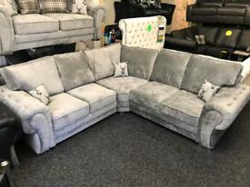 NEW: 5 Seater Verona Corner Sofa With Full Back Cushions
