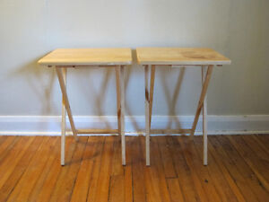 2 birch colour wood, foldable, side tables