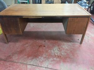 Oak Desk and Credenza