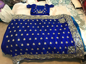 Custom Made Embroidered Navy Blue Indian Saree