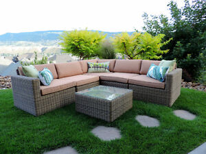 Outdoor Corner Patio Wicker Sectional Sofa in Neutral Colours!